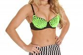 Close Up Woman Lime Green Bra Spike