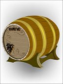 Wine Barrel With Grapes On The Stand