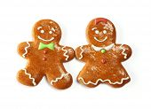 Christmas gingerbread couple cookies isolated on white