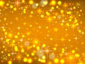 Golden Background With Stars. Christmas Luminous Sky