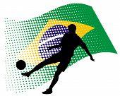 brasil soccer player against national flag