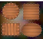 Christmas Lights On Wooden Background, Frame With Garlands, Woodworks