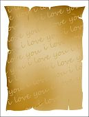I Love You Text On Parchment