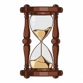 Antique Sand Hourglass Isolated On A White Background. Color Line Art. Retro Design. Vector Illustra