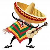 picture of mexican  - vector illustration of mexican musician in sombrero with guitar drawn in cartoon style - JPG