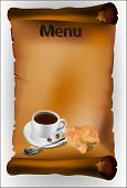 Coffee With Croissants On Parchment Background
