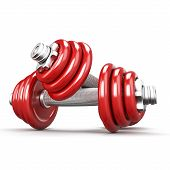 Two Red Dumbbells On White Background