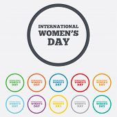 8 March International Women's Day sign icon.
