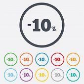 10 percent discount sign icon. Sale symbol.