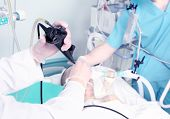 Endoscopic Reception At The Hospital. Work With Medical Equipment.