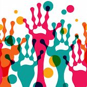 Abstract Stylized Colorful Hands Up, Vector Seamless Background