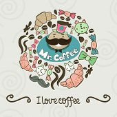Circle Shape Made Of Candy, Sweets, Cup, Lettering, Man And Coffee Things. Vector Vintage Background