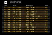 Destinations timetable