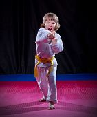 Little boy aikido fighter on black