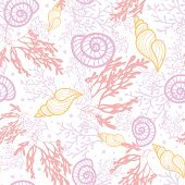 Seashells and seaweed seamless pattern background