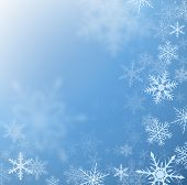 Winter frozen background with snowflakes, vector.