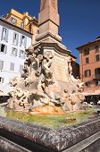 Beautiful Fontana del Pantheon on Piazza della Rotonda in Rome, Italy