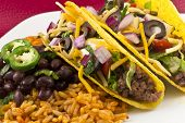 Mexican Tacos With Rice And Beans