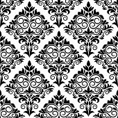 Black and white arabesque seamless pattern design