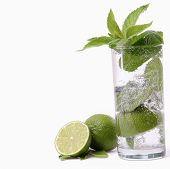 Mint in a glass isolated on white