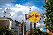 Hard Rock Cafe Sign in Copenhagen, Denmark.