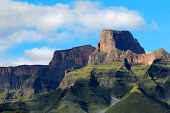 Sentinel peak in the amphitheater of the Drakensberg mountains, Royal Natal National Park, South Africa