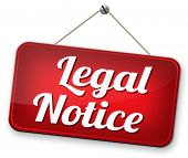 legal notice with terms and conditions for use