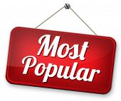 most popular sign popularity for bestseller or market leader and top product or rating in the pop poll charts