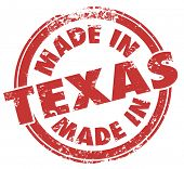 Made in Texas words in a round red stamp to show pride in products produced in TX state