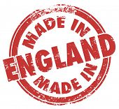 Made in England round stamp with words in red ink to show pride in products produced in the UK, United Kingdom or Great Britain