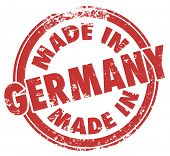 Made in Germany words in a round red stamp illustrating country national price in products produced