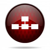 database red glossy web icon on white background