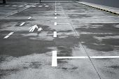 Emty parking lot with rough surface