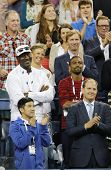 Michael Jordan attends first round match between Roger Federer of Switzerland and Marinko Matosevic