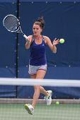 Professional tennis player Agnieszka Radwanska  practices for US Open 2014
