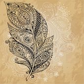 Artistically drawn, stylized, vector tribal graphic feathers with hand drawn swirl doodle pattern. G