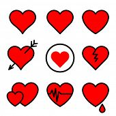Set of red vector hearts stroked black