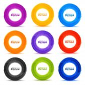 Set of 9 Hand drawn colorful watercolor circles