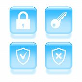 Glassy Security Icons. Vector Illustration