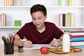 Student Writing Homework At School