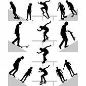 pic of skateboarding  - group of skateboarders practice on terrain silhouette vector - JPG