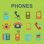 phones illustrations, icons, signs, silhouettes set, vector