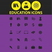 education, school, study isolated icons, signs, illustrations, silhouettes set, vector on background