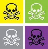 image of skull cross bones  - scull and bones isolated icons - JPG