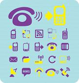 phone, smartphone, connection isolated icons, signs, illustrations, silhouettes set, vector on backg