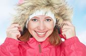 Beautiful Happy Girl In The Hood Winter Outdoors