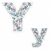 Letter Y. Bright element alphabet. ABC element in vector.