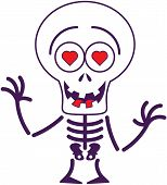 Cute Halloween skeleton in love
