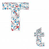 Letter T. Bright element alphabet. ABC element in vector.