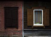 old shabby wood opened window